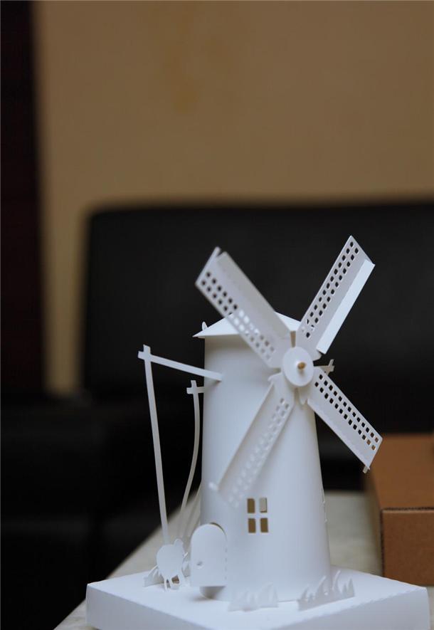 纸雕设计~荷兰风车造型led灯